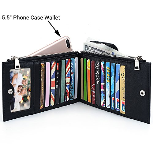 UTO RFID Wallet Women PU Leather Blocking Tech 19 Card Case Money Organizer Phone Zipper Pocket Black by UTO (Image #2)