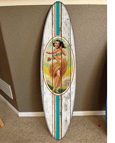 wall hanging surf board surfboard decor hawaiian beach surfing beach - Hand Surf Decor Painted