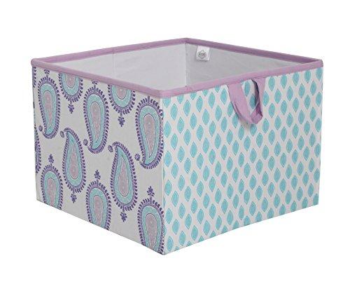 Bacati Isabella Girls Paisley Fabric Storage Box/Tote Large,  Lilac/Purple/Aqua