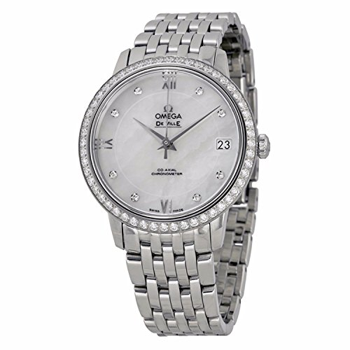 Omega-De-Ville-Mother-of-Pearl-Dial-Diamond-Stainless-Steel-Ladies-Watch-42415332055001