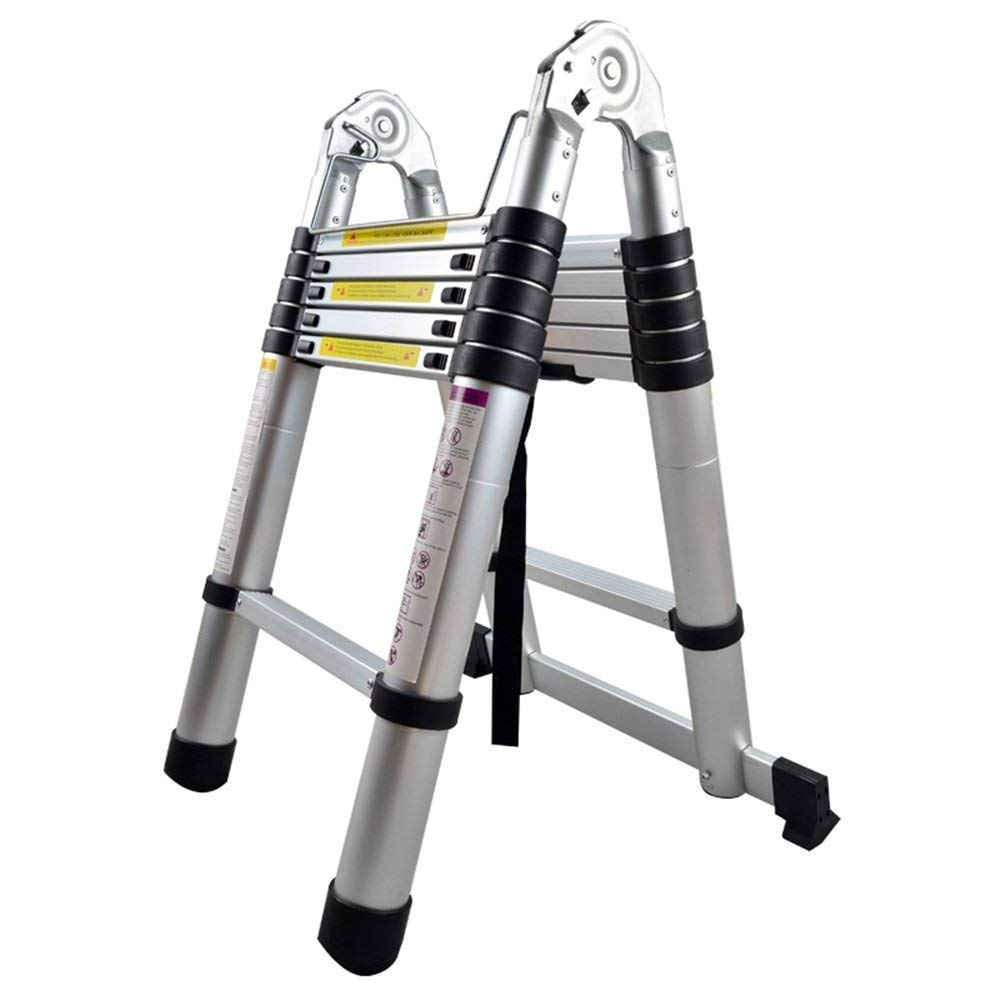 AUFUN Teleskopleiter 4,4m Alu-teleskopleiter Rutschfester Aluleiter Schiebeleiter Sprossenleiter Ausziehleiter Teleskop-Design Mehrzweckleiter max 150 kg Belastbarkeit