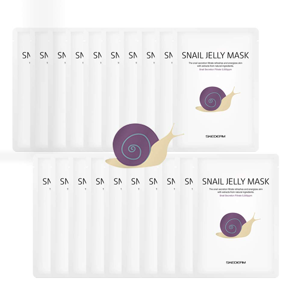 SKEDERM Snail Jelly Face Mask Sheet with Snail Secretion Filtrate 5,000ppm for Deep Moisturizing, Pack of 20