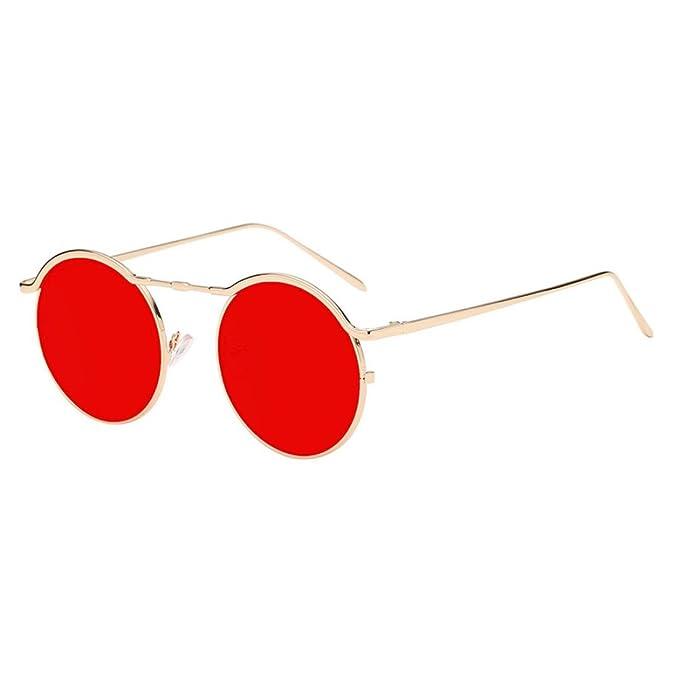 Amazon.com: Fheaven - Gafas de sol unisex, montura redonda ...