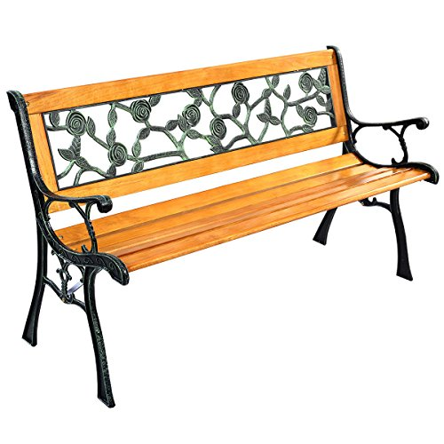 Garden Patio Furniture Bench Chair Cast Iron Hard Wood Double Dining 2 Seat Backyard