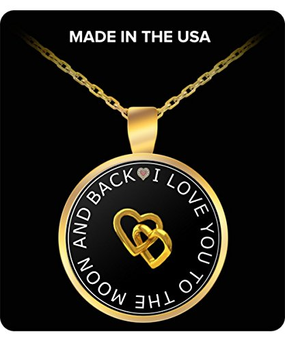ShoppersClub - I Love You To The Moon And Back - Anniversary / Valentines / Birthday / Christmas Gift for her - Gold Plated Round Necklace - NC012