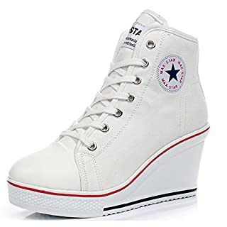 Padgene Women's Sneaker High-Heeled Fashion Canvas Shoes High Pump Lace UP Wedges Side Zipper Shoes (6-6.5 US, White)