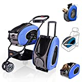 ibiyaya Multifunction Pet Carrier + Backpack + CarSeat + Pet Carrier Stroller + Carriers with Wheels for Dogs and Cats All in ONE (Blue)