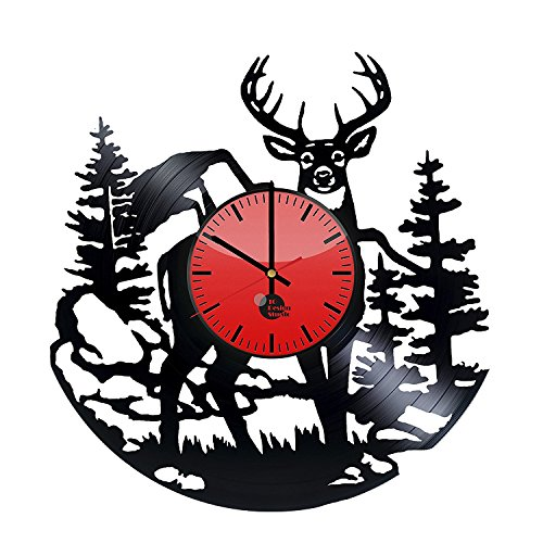 Deer Horns Vinyl Record Wall Clock – Get unique home room wall decor – Gift ideas for adults, boys and girls Animal Lover Unique Art Design – Leave us a feedback and win your custom clock