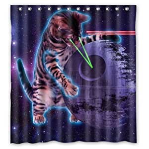 Jennifer Kitty Best Selling Galaxy Outer Space Hipster Cat 100 Polyester Shower