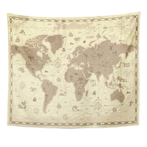 Old Detailed Colored Antique Map - Breezat Tapestry Old Retro Styled Map of the World with Mountains and Fantasy Monsters Colored in Sepia Vintage Home Decor Wall Hanging for Living Room Bedroom Dorm 50x60 Inches