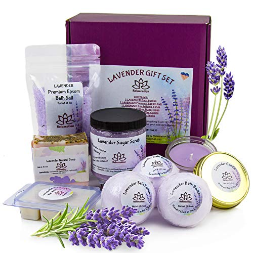 (Gift Sets For Women - Organic Spa Bath Basket with Soy Wax Candle, Lavender Natural Oil Bath Salt, 3 Bath Bombs, Handmade Soap, Body Sugar Scrub- spa gift set for Mom Girls Her Mother Grandma Daughter)