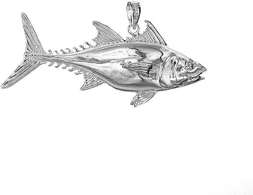 925 Sterling Silver Nautical Charm Pendant 3-D Blue Shark