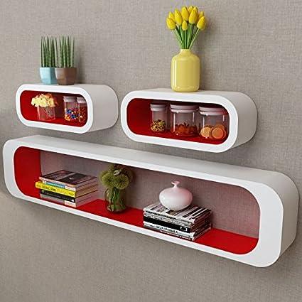 Amazon Com Skb Family 3 White Red Mdf Floating Wall Display Shelf