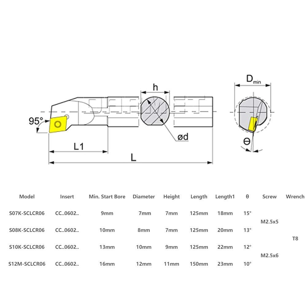12mm S07K S12M-SCLCR06 Tour CNC barre dal/ésage porte outil de tournage KKmoon 4pcs 7//8//10 S10K S08K 4 cl/és 10pcs CCMT060204 inserts