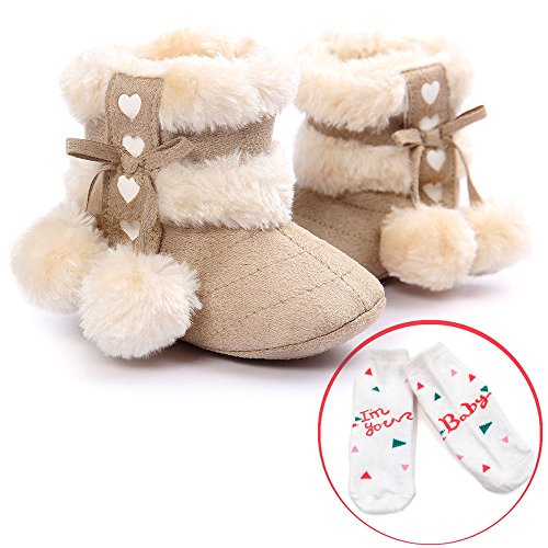 LIVEBOX Infant Toddlers Baby Girls' Soft Sole Anti-Slip Bow Mid Calf Warm Winter Pom Pom Prewalker Snow Boots With Free Gift Socks (L: 12~18 months, Beige)