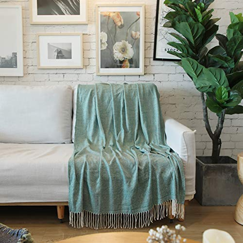 ALPHA HOME Woven Throw Blanket with Fringe, for Couch Chair Bed Picnic Camping Travel - 47