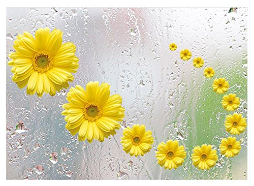 OUUD 3D Removable Vinyl Daisy Flower Wall Sticker DIY Living Room Bedroom Wallpaper Murals for Adults Children Kids (Yellow, 20X27.5 Inches) ()