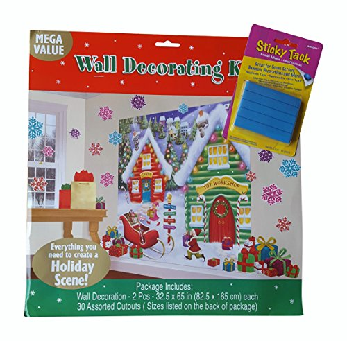 Winter Wonderland Christmas Party North Pole Mega \Value Scene Setters Wall Decorating Kit: Also Includes Sticky Tack Adhesive