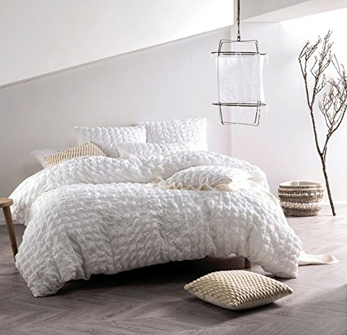 (Nicole Miller Home 3pc King Seersucker Duvet Cover and Shams Set 100% Cotton Modern Squares White Ruched Textured Duvet Cover)