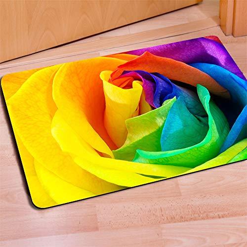 HUGS IDEA Rainbow Color Rose Flower Doormat Entrance Mat Floor Mats Indoot/Outdoor/Front Door/Bathroom Rugs Rubber Non Slip