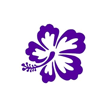 Hawaiian Flower Hibiscus Small 3quot Tall PURPLE Vinyl Window Decal Stickerquot