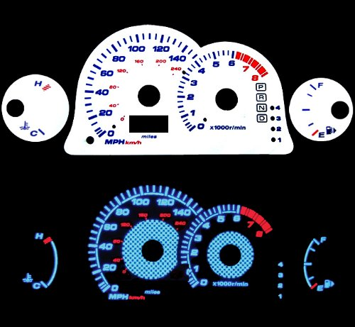 (High performance parts Reverse Blue El Glow White Gauge for 00 01 02 03 04 05 Mitsubishi Eclipse L4 at )