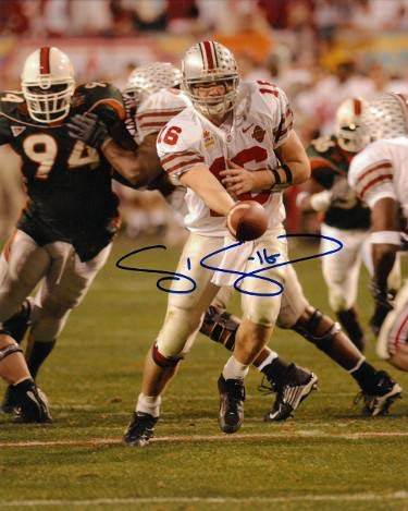 Signed Craig Krenzel (Chicago Bears) Photo - Ohio State Buckeyes Tostitos Fiesta Bowl 8x10#16 MVP) - Autographed NFL Photos