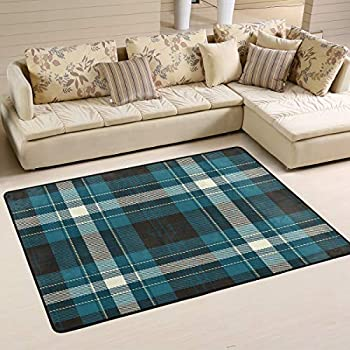 breathtaking indoor outdoor carpet living room | Amazon.com : Wamika Tartan Plaid Doormat Blue White Black ...