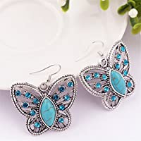OrliverHL Retro Bohemian Butterfly Hollow Pendant Turquoise Green Jewelry Suit Set,Earring