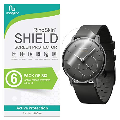 RinoGear withings Activite Pop Screen Protector [6-Pack] Full Coverage Flexible HD Crystal Clear Anti-Bubble Unlimited Replacement Film