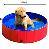 GRULLIN Pet Swimming Pool for Dog (32by8inch) Portable Foldable Pool Cats Bathtub Water Pool