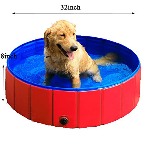 GRULLIN Pet Swimming Pool for Dog (32by8inch) Portable Foldable Pool Cats Bathtub Water Pool]()