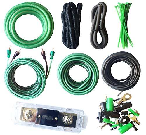 Amp Green (SoundBox Connected True 4 Gauge Amp Install Kit AWG Amplifier Wiring Complete Cable-SuperFlex 3500W Extra Long 20 Ft. Power Wire)