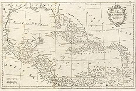 gulf of mexico caribbean west indies bahamas spanish main kitchin 1795 old