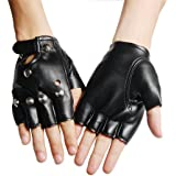 COOL PUNK UNISEX STUDDED BLACK LEATHER LOOK FINGERLESS GLOVES FANCY DRESS PUNK GOTH 80s WEIGHT TRAINING IN GYM DRIVING CYCLING WHEELCHAIR USE FOR BOYS&GIRLS