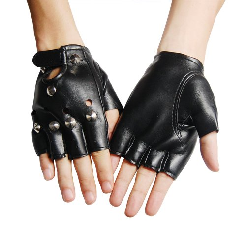 4ec9429749f2b COOL PUNK UNISEX STUDDED BLACK LEATHER LOOK FINGERLESS GLOVES FANCY DRESS  PUNK GOTH 80s WEIGHT TRAINING IN GYM DRIVING CYCLING WHEELCHAIR USE FOR ...