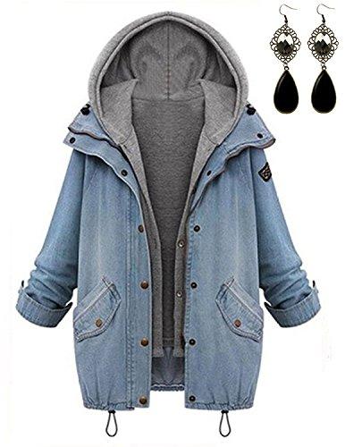 Lunghe Cappotti Con Casuale Giacche Cappuccio Corta queen Autunno Inverno Baggy 1 In Hoodie Maniche M Donna Denim Blu 2 Jacket Boyfriend wZXt6wIq