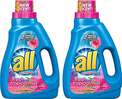 All Liquid Laundry Detergent, Fresh Tropical Mist, 50 Fluid Ounces, 33 Loads (Pack of 2)