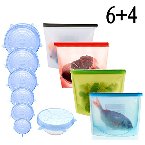 Silicone Food Storage Bag,Reusable Food Preservation Bag Airtight Seal Food Storage Container & Silicone Stretch Lids, Various Sizes Silicone Storage Covers Expandable Food Covers