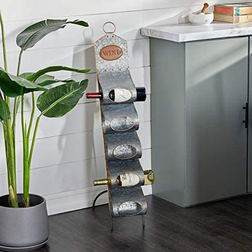 Unknown1 Grey Metal Contemporary Standing Wine Rack 40 X 7 17 Modern