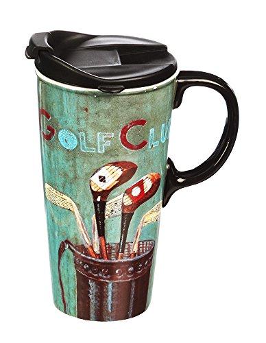 Golf Club 17 OZ Ceramic Travel Cup - 4 x 5 x 7 Inches