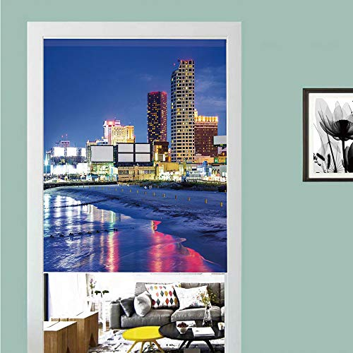 3D printed Magic Stickers Door Curtain,City,Resort Casinos on Shore at Night Atlantic City New Jersey United States,Violet Blue Pink Yellow ,Privacy Protect for Kitchen,Bathroom,Bedroom(1 Panel) -