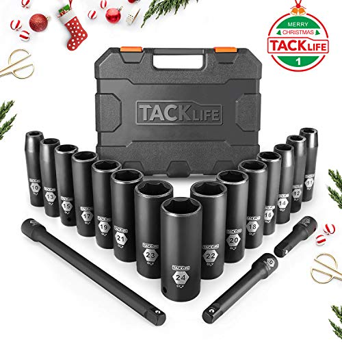 【Christmas Selection】TACKLIFE Upgraded 18pcs (Include 3Pcs Extension Bar Set) 1/2-Inch Drive Deep Impact Socket Set, Metric,6 Point, 10-24mm, 15pcs ()