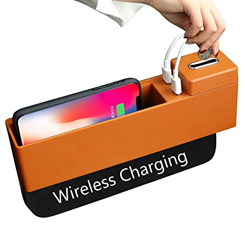 YRCP Wireless Charger Car Seat Pocket, 2 USB Ports Console Organizer with Coin Box, Car Seat Side Gap Filler (Orange) WX-01