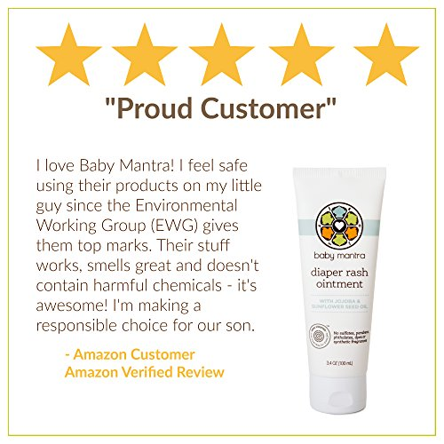 Baby Mantra Diaper Rash Ointment - EWG Verified Diaper Cream made with Natural, Hypoallergenic Ingredients - Best for Newborns, Babies, and Toddlers with Sensitive Skin - 3.4 Ounce Tube by Baby Mantra (Image #5)