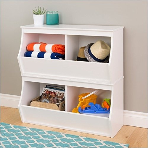 Hawthorne Collections Stacked 4-Bin Storage Cubby in White (Set of 2) by Hawthorne Collections
