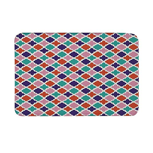 Ikat Decor Non Slip Door Mat,Colorful Mosaic Tiles Oriental Asian Islamic Ikat Indonesian Patterns Motifs Decorative Home Floor Mat for Bathroom Living Room,23