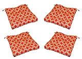 Set of 4 - In / Outdoor Red and White Geometric Gotcha Print Universal Tufted Seat Cushions with Ties for Dining Patio Chairs - Choose Size (20'' x 18'')