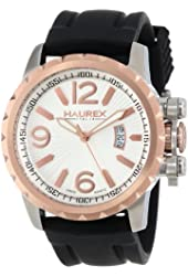 Haurex Italy Men's 3A502USN Aeron Stainless Steel Black Rubber Luminous Date Watch