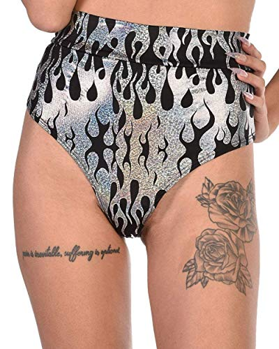 iHeartRaves Holographic Flame High Waisted Thong Bottoms (Silver, Small) (Best Pole Dancing Clothes)